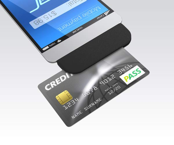 swiping a credit card with a phone