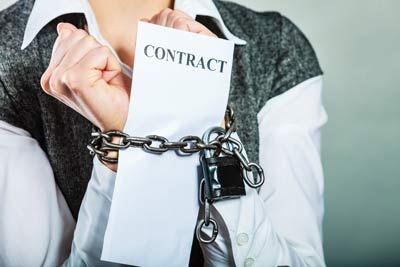 woman feeling locked into a contract