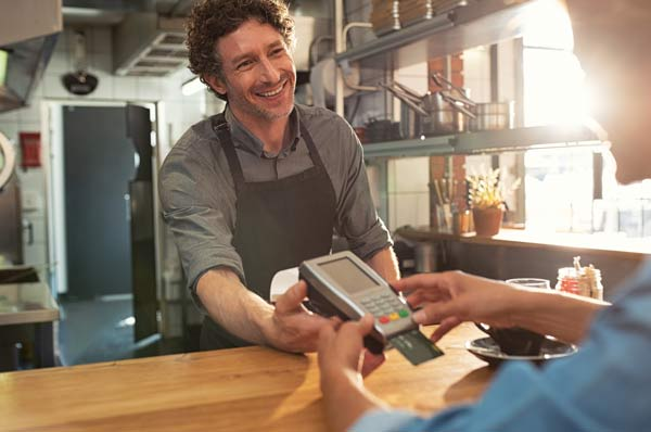 credit card machine taking payment
