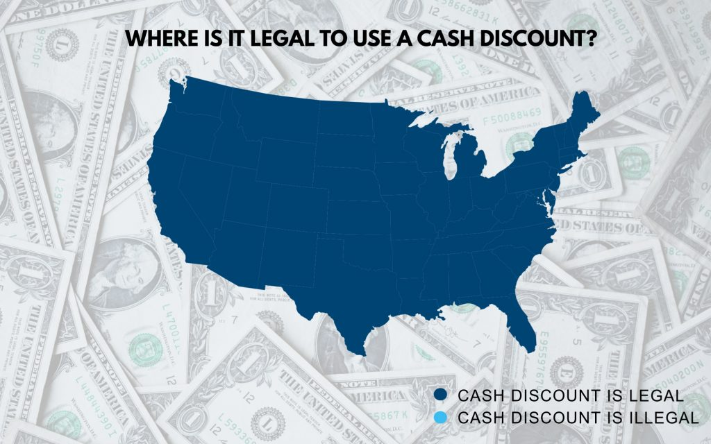 map of where it is legal to use a cash discount
