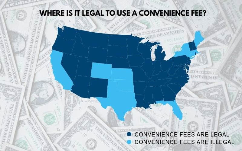 Map showing U.S. states where it is legal to use a convenience fee