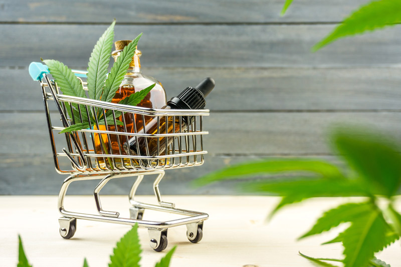 Shopping cart with CBD products inside
